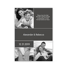 Create Cards For My Save The Date, 3 Pictures Collage Grey