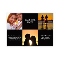 Create Your Own Tie The Knot Cards, 3 Photo Collage Black