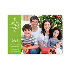 Create Your Own Holiday Photo Cards, Green Snowflake Tree Invitations
