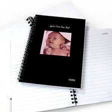 Create Your Own Square Photo Black Two Title Notebook