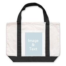 Portrait Photo Personalized Tote Bag, Black