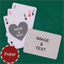 Poker Size Heart Bridge Style Custom 2 Sides Landscape Back