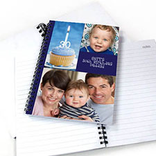Create Your Own Blue Three Collage One Title Notebook