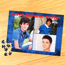 Personalized Blue Texture 3 Collage 12X16.5 Photo Puzzle