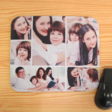 Personalized White Six Photo Collage Design Mouse Pad