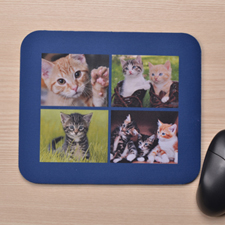Personalized Four Collage Mousepad, Navy Blue