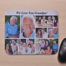 Custom Eight Collage Mousepad Title Above Photos, White