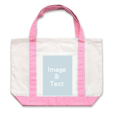 Portrait Photo Personalized Tote Bag, Pink