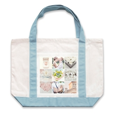Nine White Collage Light Blue Custom Large Tote Bag