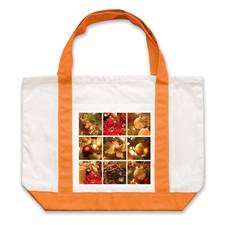 Nine Black Collage Orange Custom Large Tote Bag