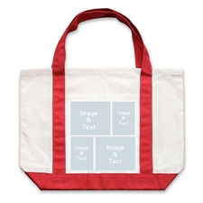 Four White Collage Red Custom Large Tote Bag