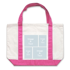 Four White Collage Hot Pink Custom Large Tote Bag