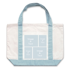 Four White Collage Light Blue Custom Large Tote Bag