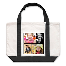 Four Black Collage Custom Large Tote Bag