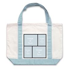 Four Black Collage Light Blue Custom Large Tote Bag