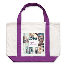 Six White Collage Purple Custom Large Tote Bag