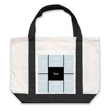 Six Black Collage Custom Large Tote Bag