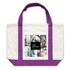 Six Black Collage Purple Custom Large Tote Bag