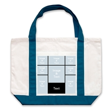 Eight Black Collage Navy Custom Large Tote Bag