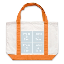 Four White Collage Orange Custom Large Tote Bag