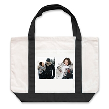 Two White Collage Personalized Tote Bag, Black