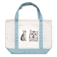 Two White Collage Personalized Tote Bag, Baby Blue