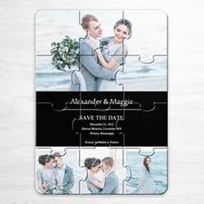 Custom Save The Date Puzzle Invitations, Black 4 Photo Collage Invitation Puzzle