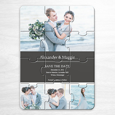 Custom Save The Date Puzzle Invitation, Grey 4 Photo Collage Invitation Puzzle