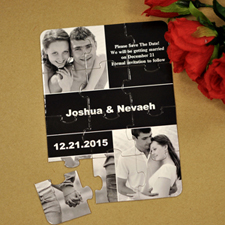 Custom Black Three Collage Portrait Invitation Puzzle