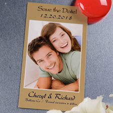 Create Gold Save The Date Photo 2x3.5 Card Size Magnet