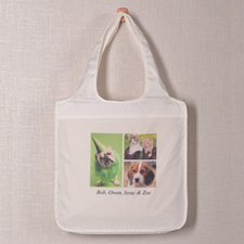 Personalized 3 Collage Folded Shopper Bag, Modern