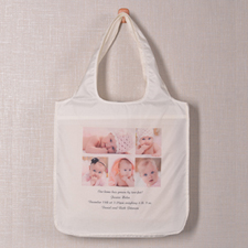 Personalized 5 Collage Folded Shopper Bag, Contemporary