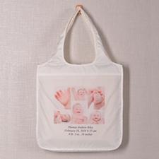 Personalized 6 Collage Folded Shopper Bag, Elegant