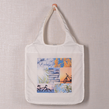 Personalized 7 Collage Folded Shopper Bag, Classic