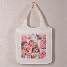 Personalized 9 Collage Folded Shopper Bag, Snapshots