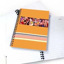 Create Your Own Three Collages Colorful Stripes Notebook, Orange