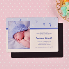 Personalized 4x6 Large Baby Boy Baptism Cross Photo Fridge Magnets