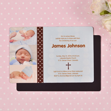 Personalized 4x6 Large Boy First Cross Christening Photo Fridge Magnets
