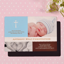Personalized 4x6 Large Classic Christening Baby Blue Photo Fridge Magnets