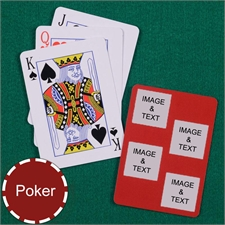 Personalized Poker Size Red Four Square Collage Photo Playing Cards