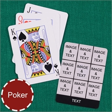 Personalized Poker Size Black Nine Collage Photo Playing Cards