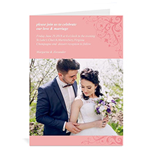 Custom Printed Elegance Wedding Announcement Greeting Card