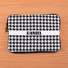 Personalized Name Black Hounds Tooth Macbook Air 11 Sleeve