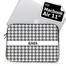 Custom Initials Grey Houndstooth MacBook Air 11 Sleeve