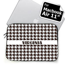 Custom Name Chocolate Houndstooth MacBook Air 11 Sleeve