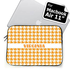 Custom Name Orange Houndstooth MacBook Air 11 Sleeve