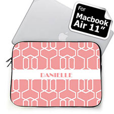 Custom Name Pink Trellis MacBook Air 11 Sleeve
