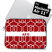 Custom Initials Red Trellis MacBook Air 11 Sleeve