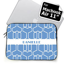 Custom Name Sky Blue Trellis MacBook Air 11 Sleeve