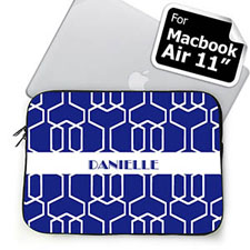 Custom Name Blue Trellis MacBook Air 11 Sleeve